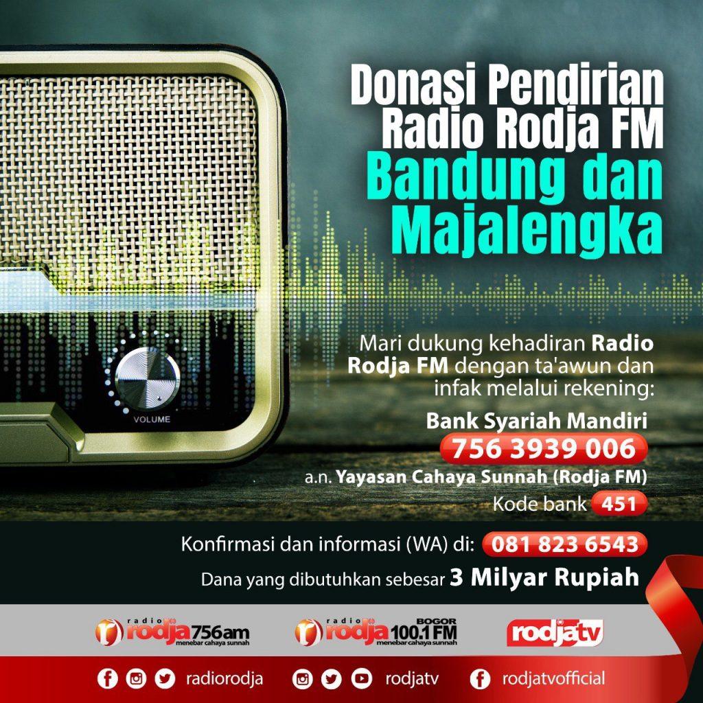 Donasi Pendirian Radio Rodja FM Bandung dan Majalengka 2020