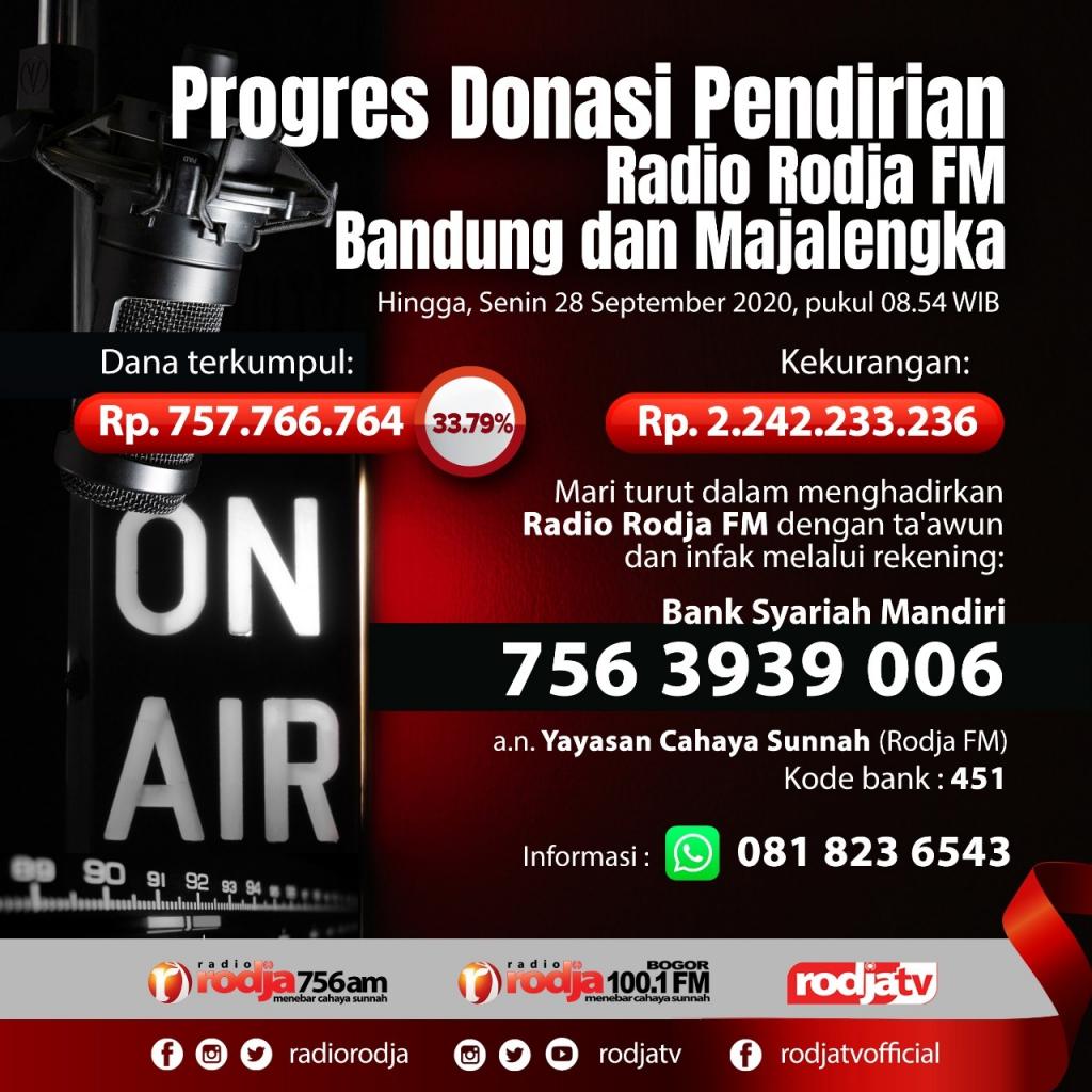 Progres Donasi Pendirian Radio Rodja FM Bandung dan Majalengka