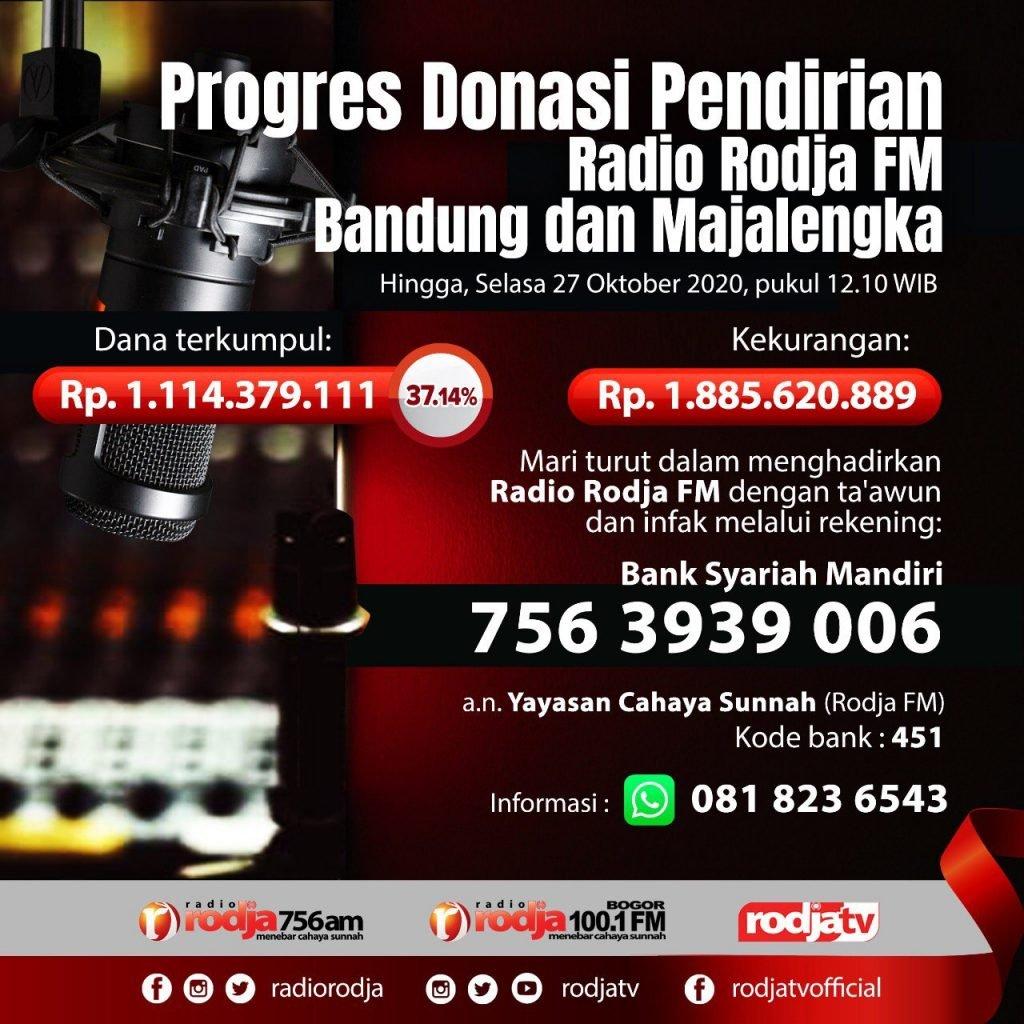Progres Donasi Pendirian Radio Rodja FM Bandung dan Majalengka 27 Oktober
