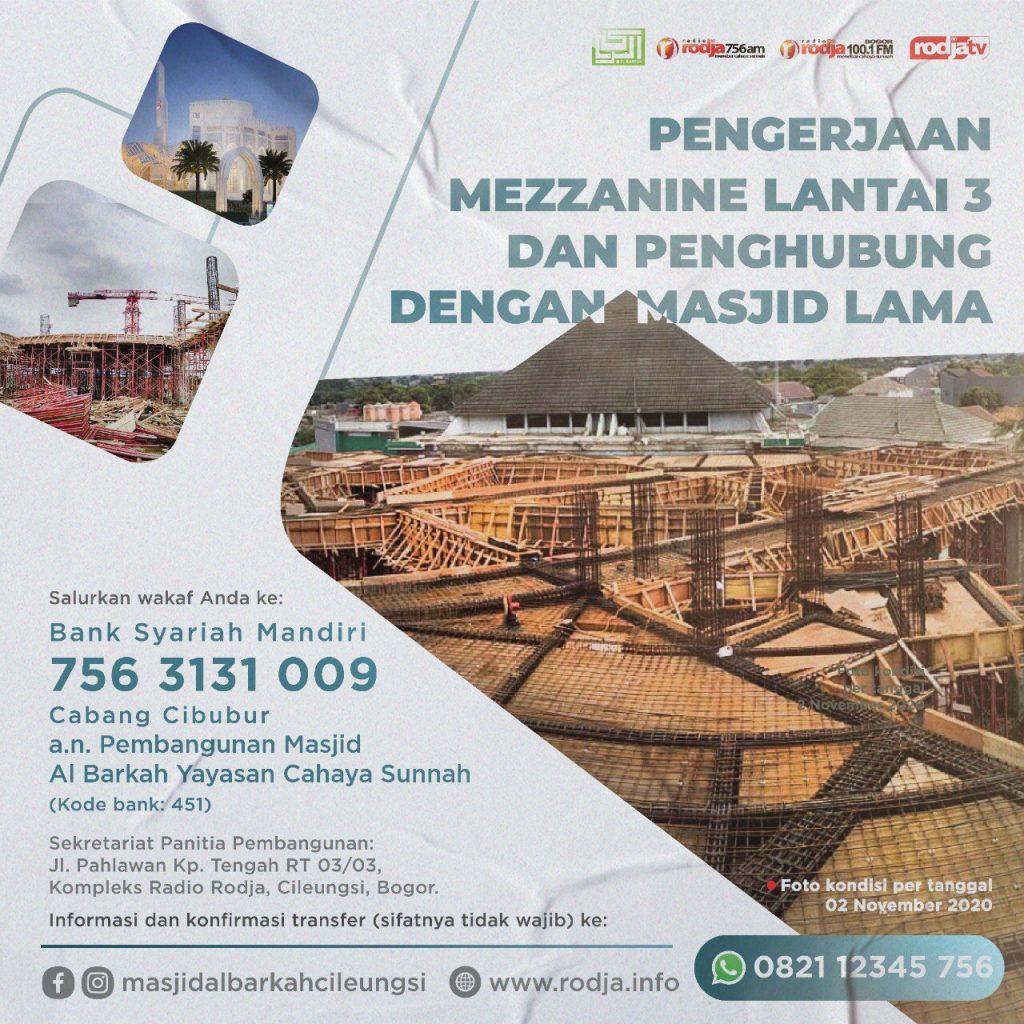 Pengerjaan Mezzanine Lantai 3 dan Penghubung dengan Masjid Lama